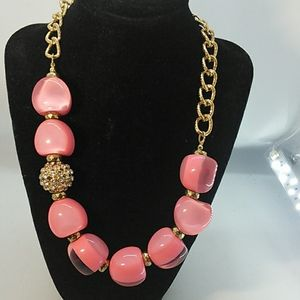 Jewelry - Acrylic Pink Beads with gold chain Necklace